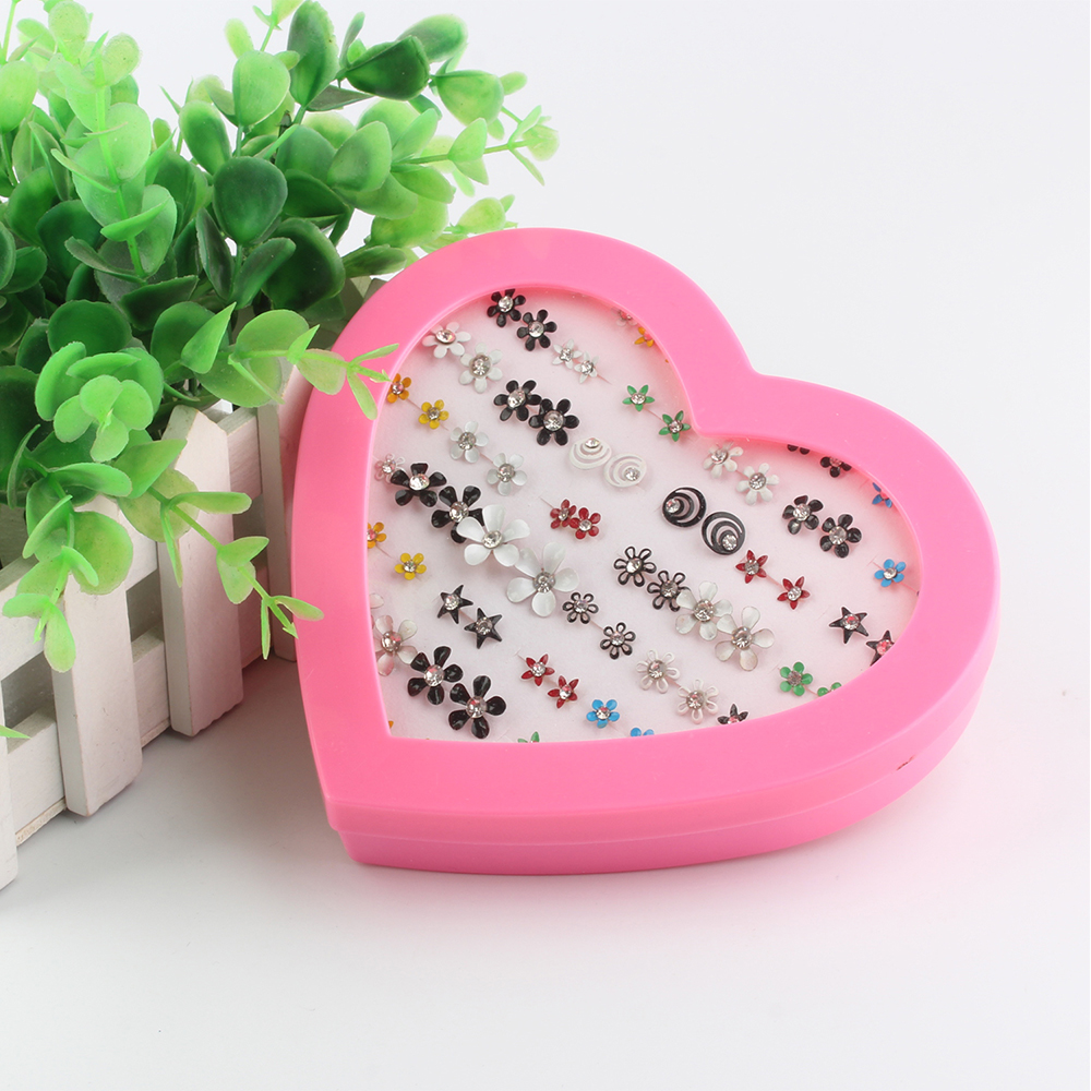 Fashion Heart Box 36 Pairs of Colorful Exquisite Flowers Flash Drill Earrings