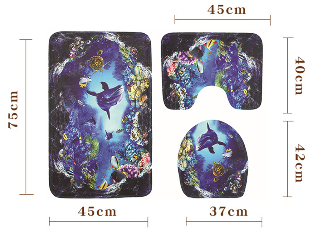 Ocean World Printed Toilet Mat Bathroom Anti-slip Carpet Set