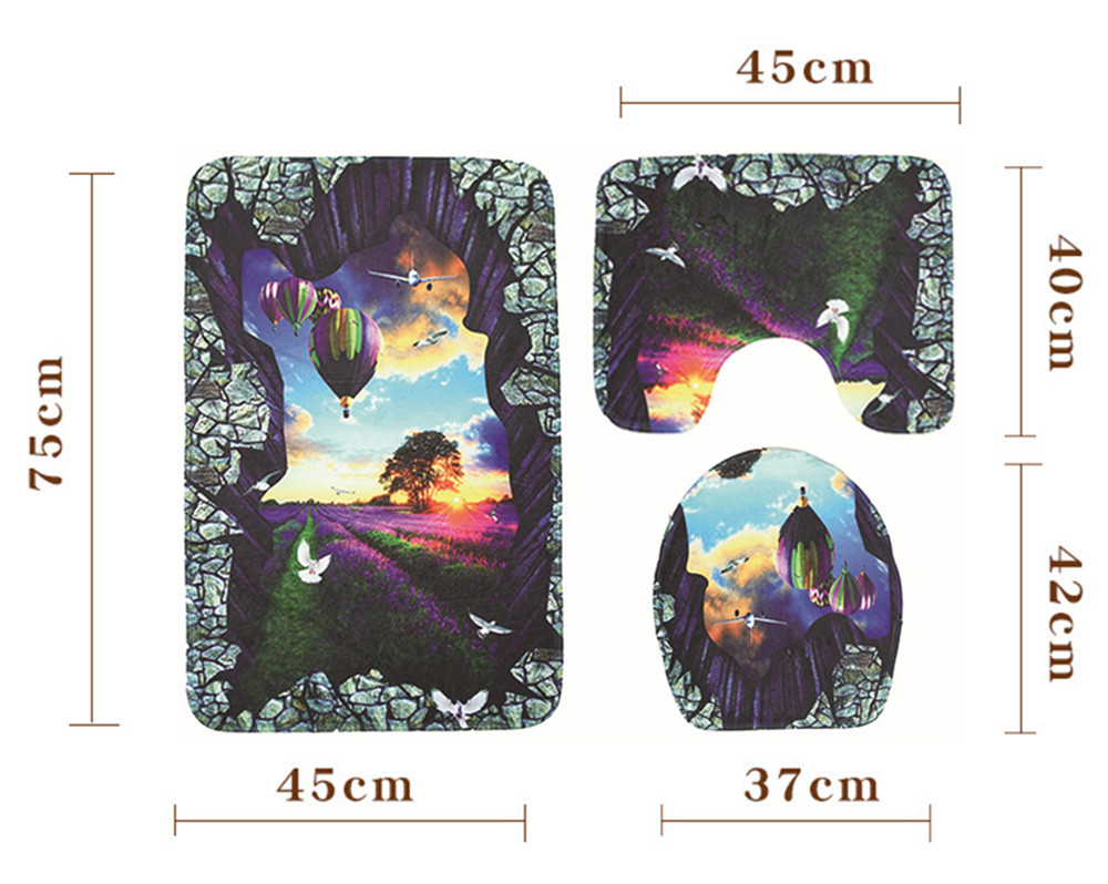 Stone Window Printing Toilet Mat Three-piece Bathroom Anti-slip Carpet Set