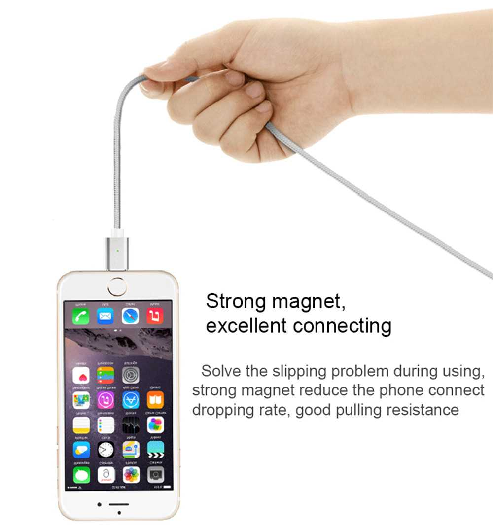 Fast Charging Nylon Braided 3 in 1 Strong Magnetic USB Data Cable for iphone Android Type-C