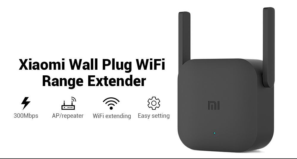 Xiaomi Wall Plug WiFi Range Extender 300Mbps Wireless Repeater AP Router  (BLAC