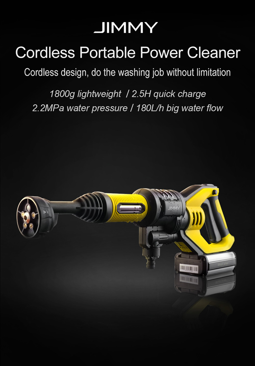 Jimmy JW31 Powerful Handheld Rechargeable Flush Gun Cleaning Tool