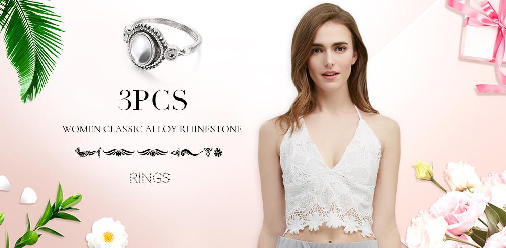 3pcs Women Classic Elephant Round Shape Lady Alloy Rhinestone Rings