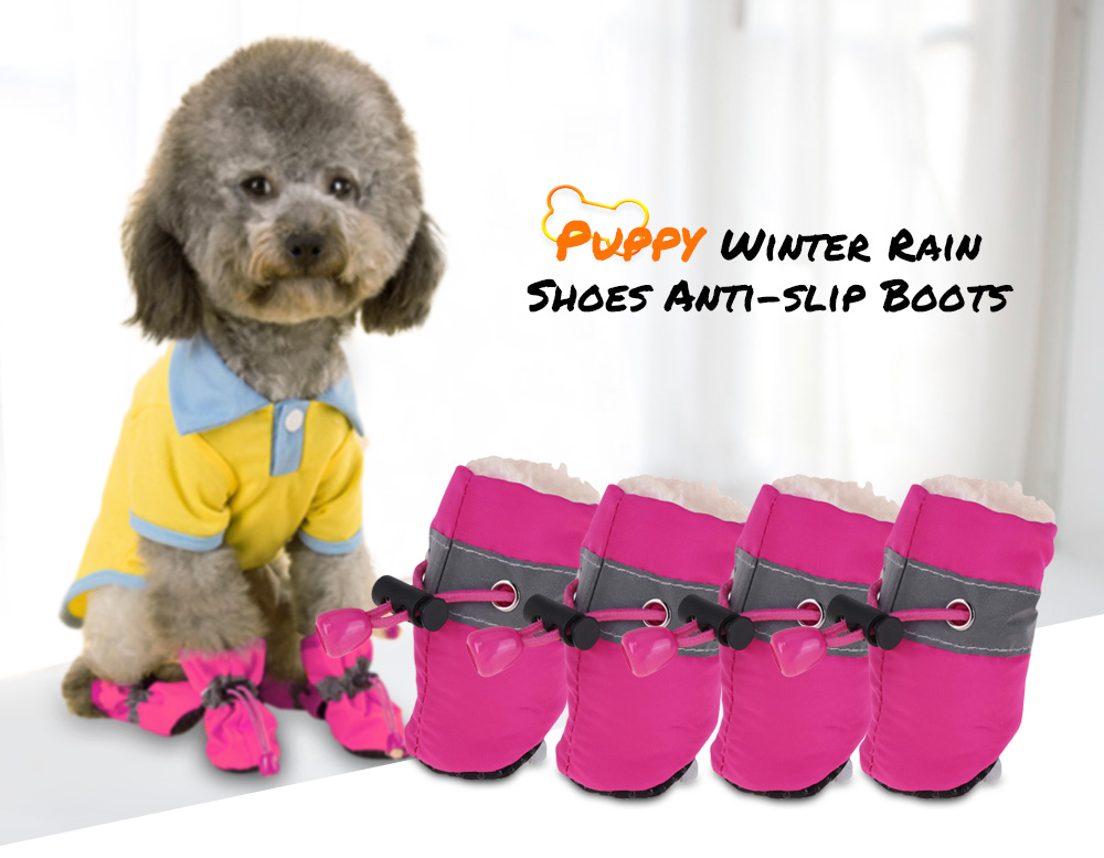 2 Pair of Pet Puppy Winter Warm Rain Shoes Anti-slip Boots for Small Dog