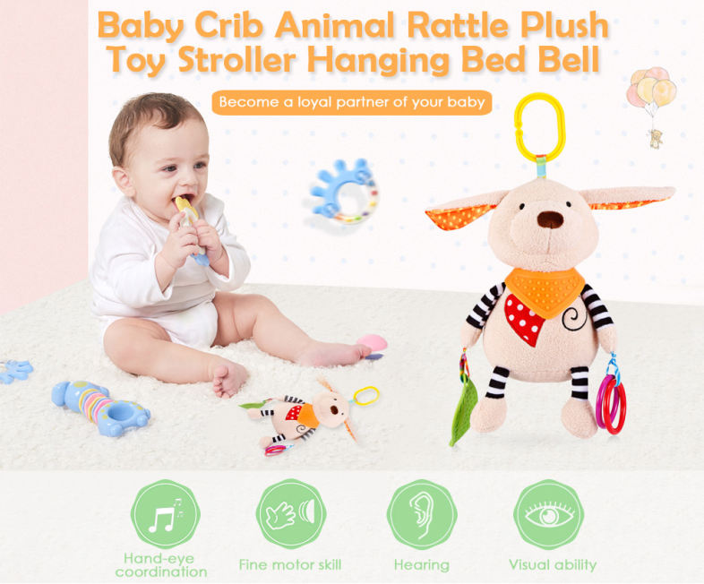 Baby Crib Animal Rattle Plush Toy Stroller Hanging Bed Bell