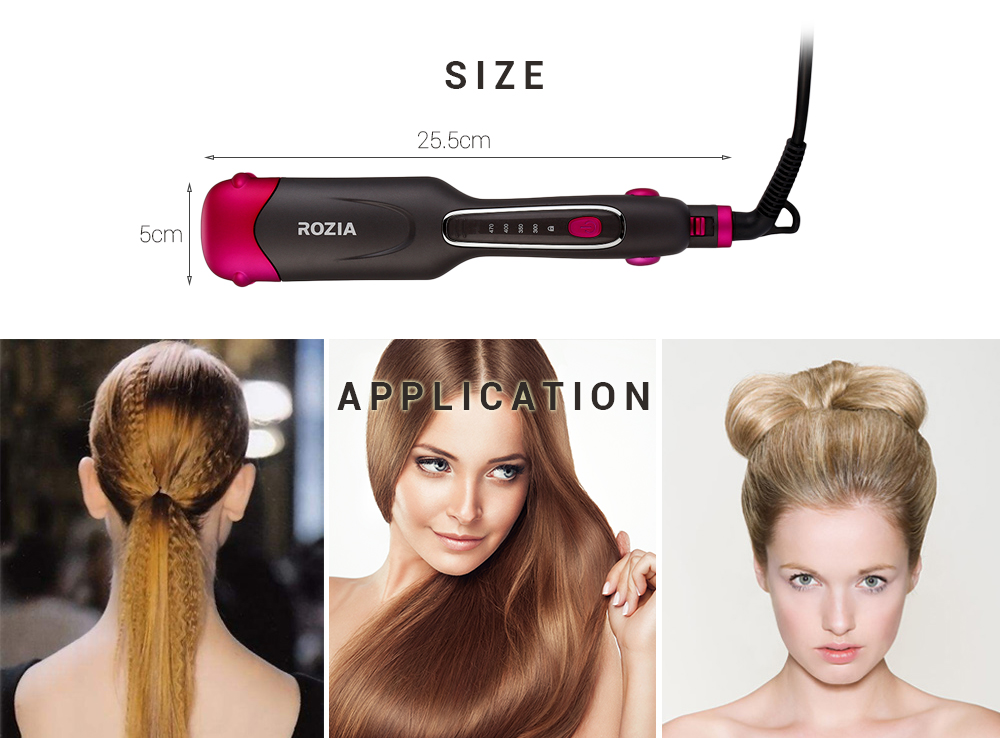 ROZIA HR755 Ceramic Hair Straightener with 2 Size Changeable Corn Plates
