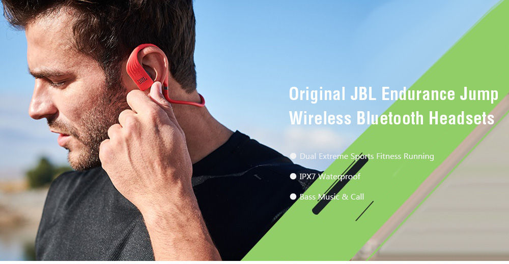 Original JBL Endurance Jump Wireless Bluetooth Headsets Dual Extreme Sports Fitness Running IPX7 Waterproof Hanging Ears In Ear Plugs Magnetic Bass Touch Music Call