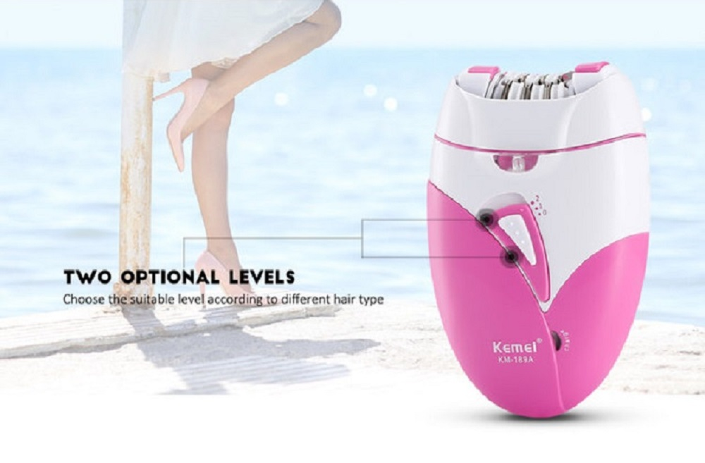 Kemei KM - 189A Woman'S Epilator Electric Hair Removal Machine Two Speeds Painle