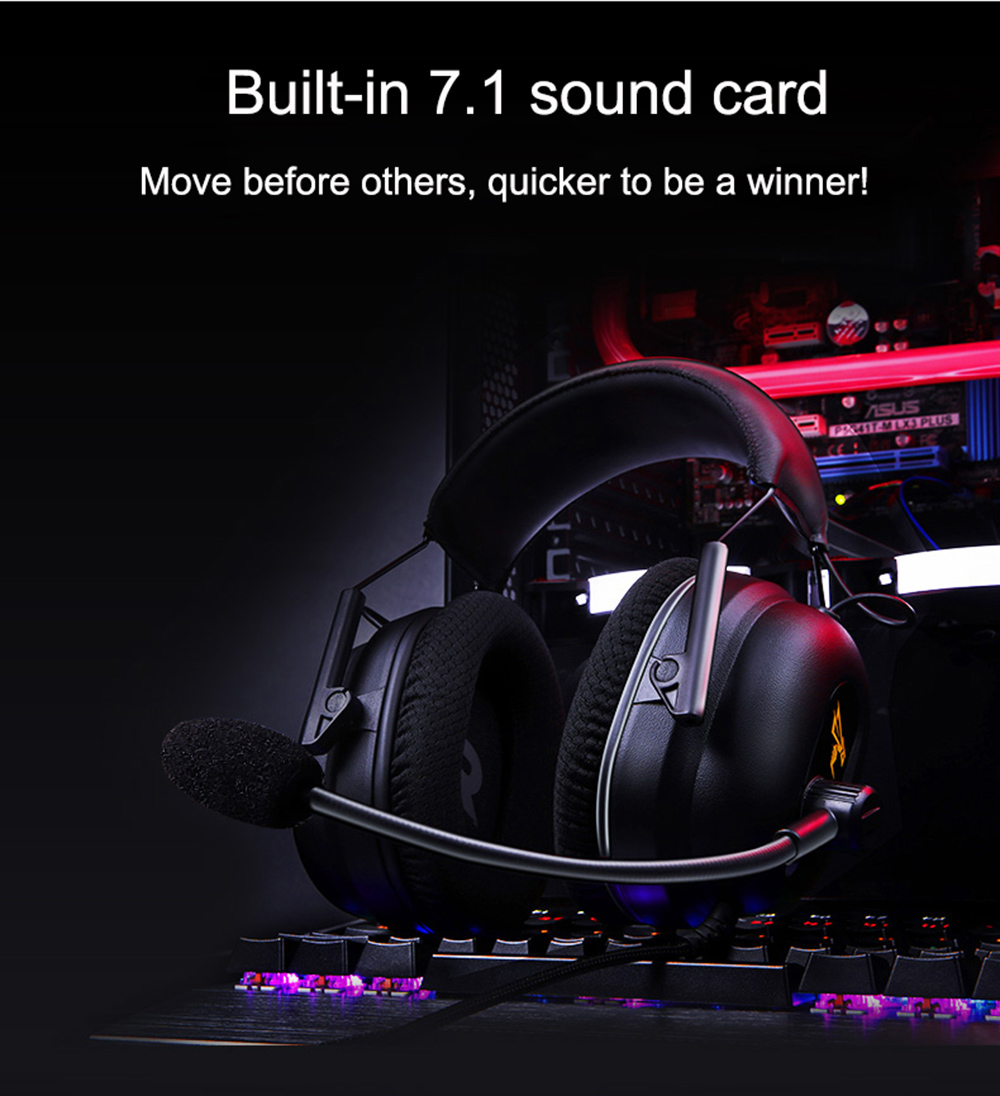 Somic G936N USB 7.1 Virtual Surround Sound Game Headset Universal Headband Over-ear Headphone with Mic and In-line Control