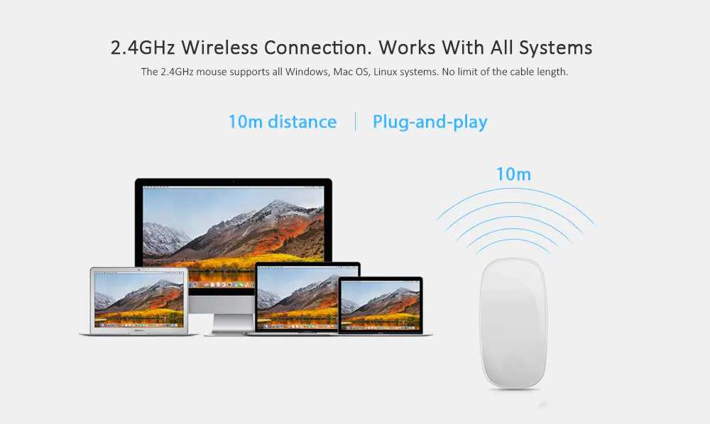 Wireless Optical Touch Magic Mouse 2.4G USB for Mac OS / Windows PC / Laptop