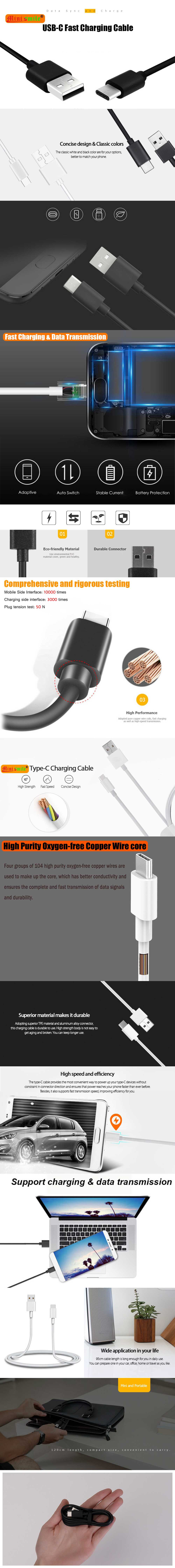 Minismile USB Type-C Fast Charging and Sync Cable for Xiaomi Redmi Note 7