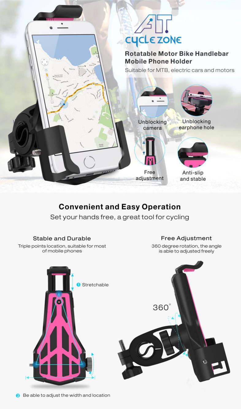 Cycle Zone 360 Degree Rotatable Motor Bike Handlebar Mobile Phone Holder Mount Stand