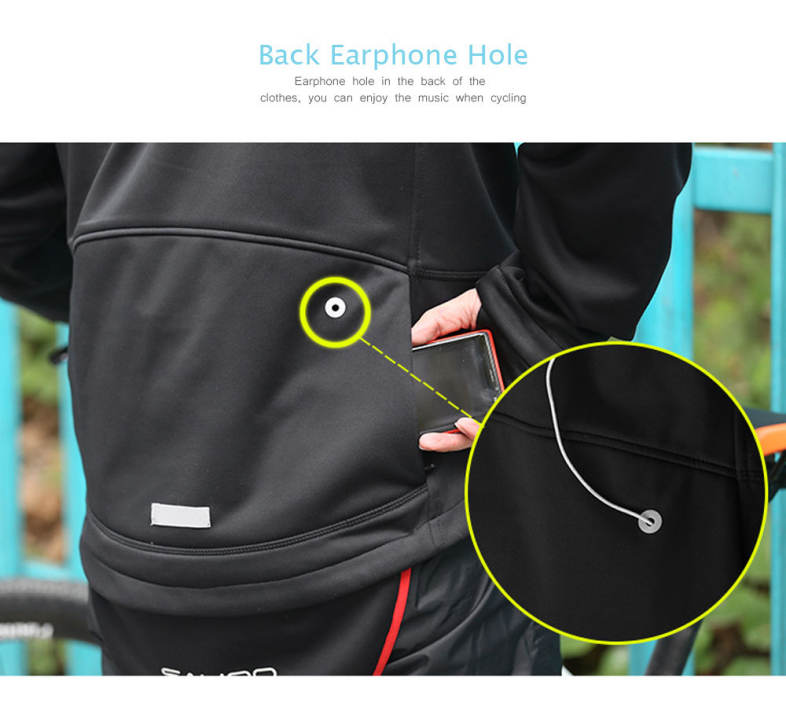 SAHOO Cycling Windproof Full Zippered Windproof Polyester Fabric Jacket