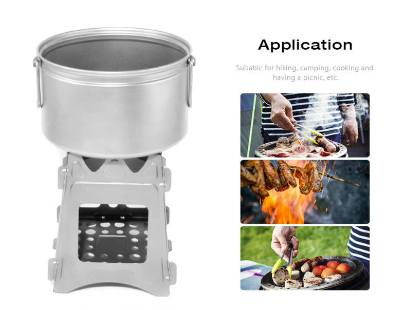 Outlife Outdoor Pocket Stainless Steel Folding Alcohol Stove for Cooking Camping