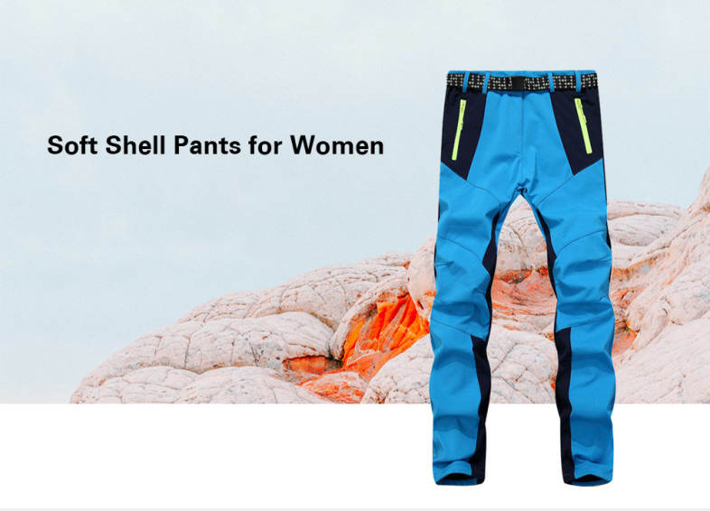 Waterproof Outdoor Soft Shell Pants Warm Running Cycling Trousers for Women