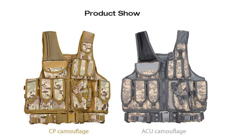 Tactical Paintball Military Assault Shooting Hunting Molle Vest with Holster