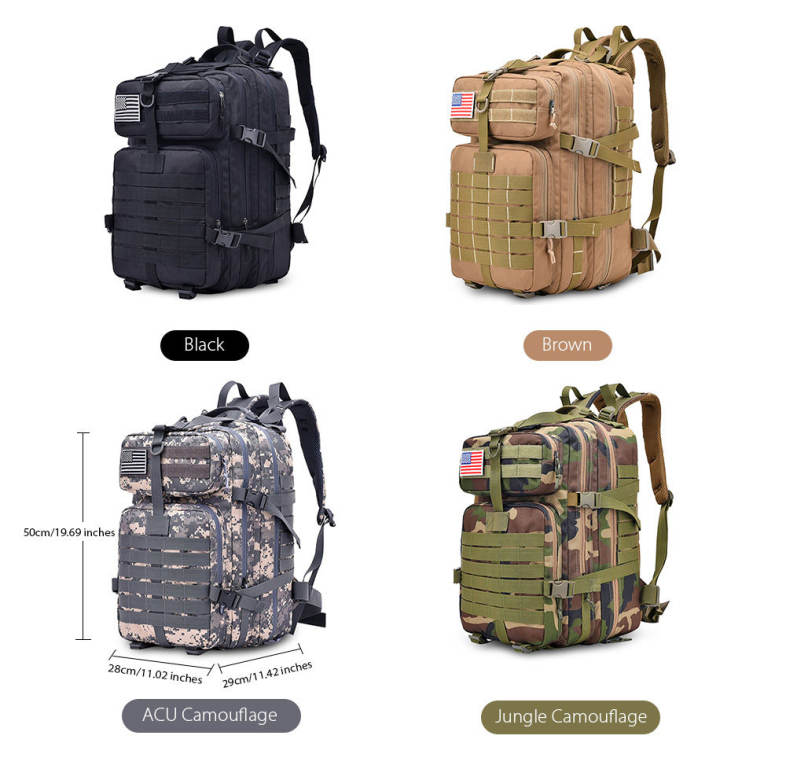 Free Knight 9252 Military Tactical Backpack Assault Pack Army Bag with US Flag Patch