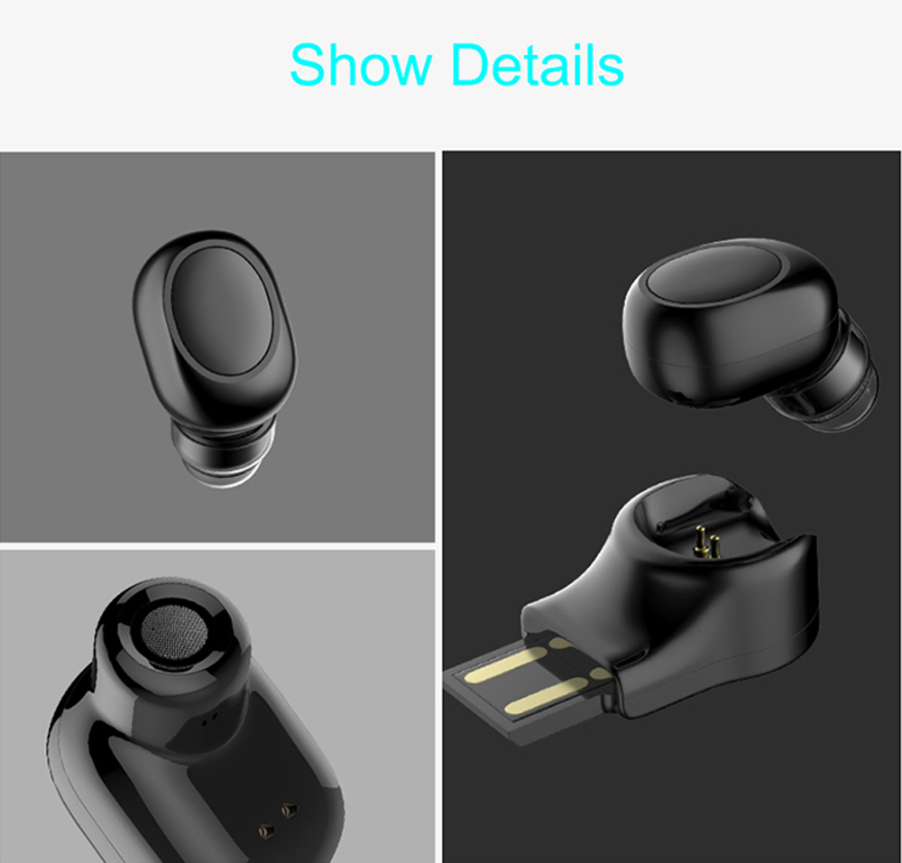 Wireless Bluetooth Earphone Invisible In Ear Earbud Handsfree Car Sports Headset with Charging Dock