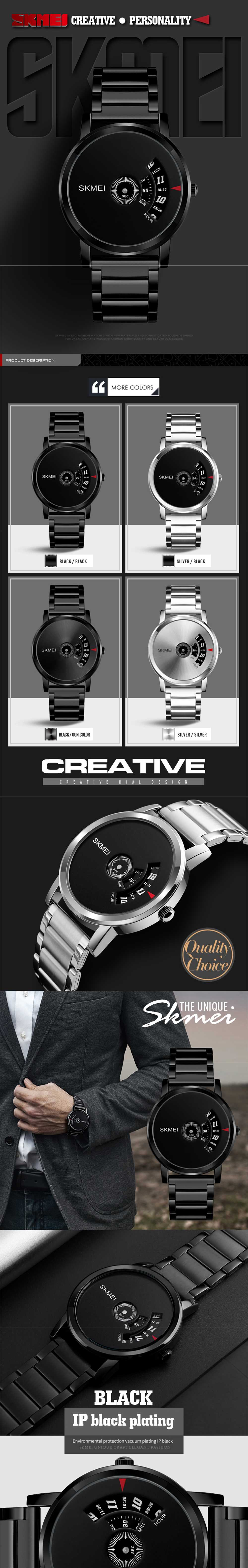 SKMEI Men's Quartz Waterproof Full Steel Fashion Top Luxury Brand Watches