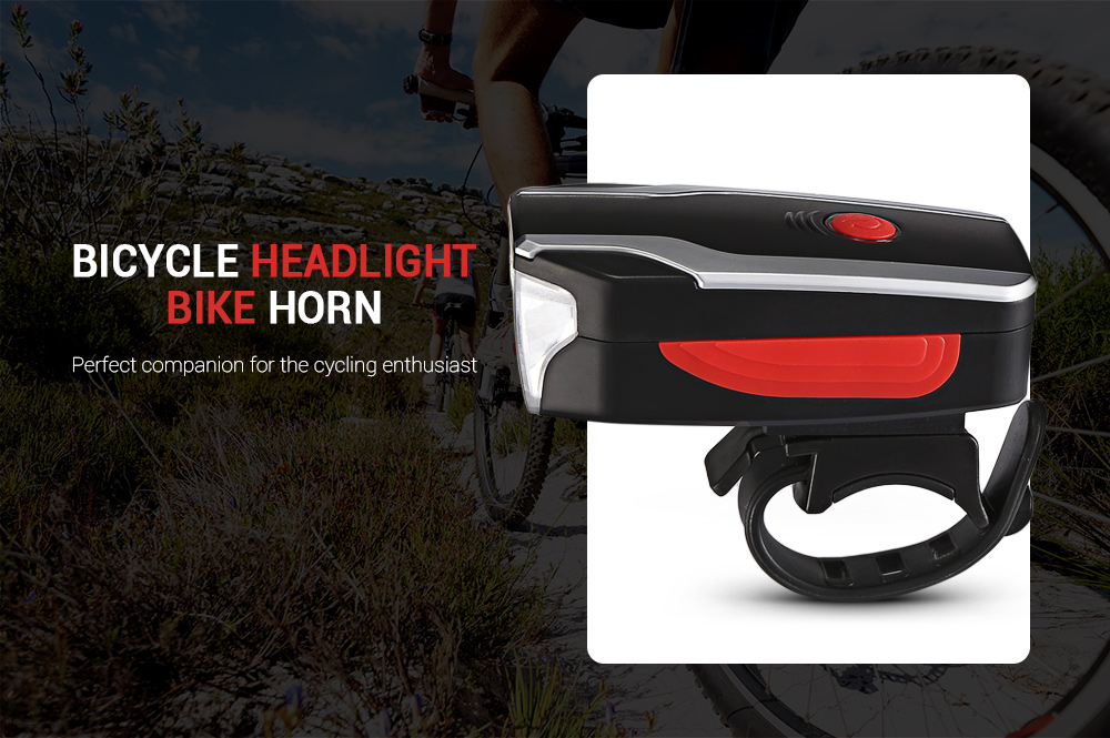 2599 Bicycle Headlight Bike Horn USB Charging Front Light with Anti-theft Alarm