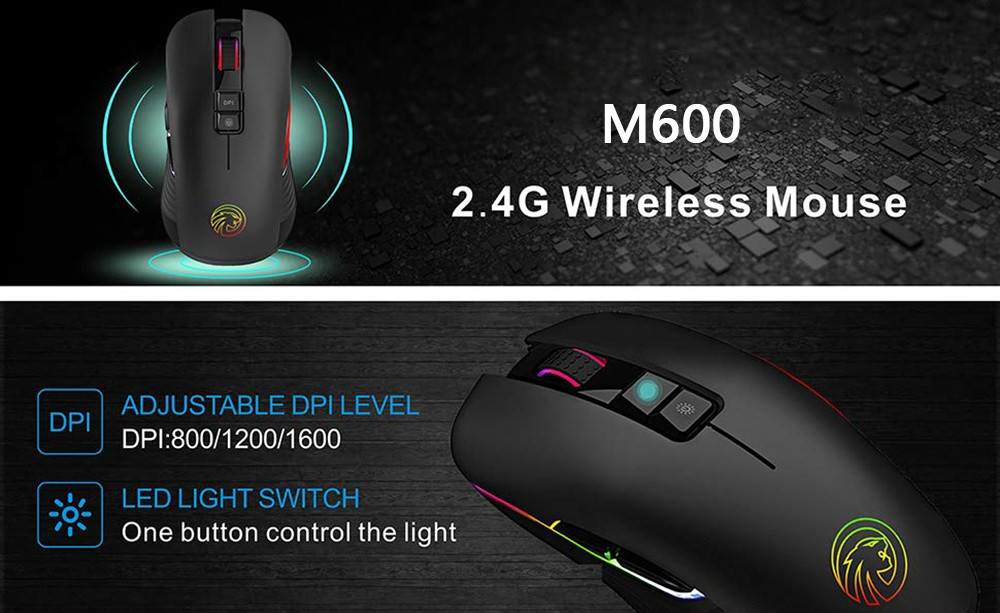 M600 Rechargeable Wireless Gaming Mouse Optical LED 2.4GHz Computer Mice with Nano USB Receiver