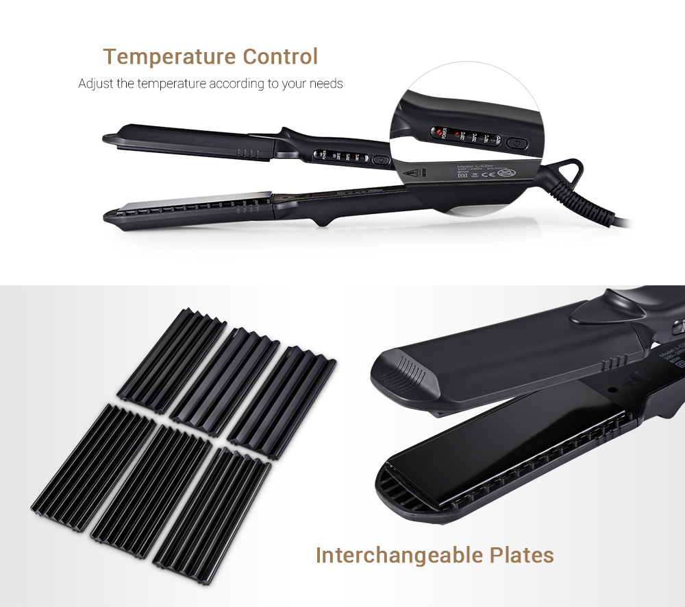DODO L - C280 Ceramic Hair Straightener with 3 Size Changeable Corn Plates