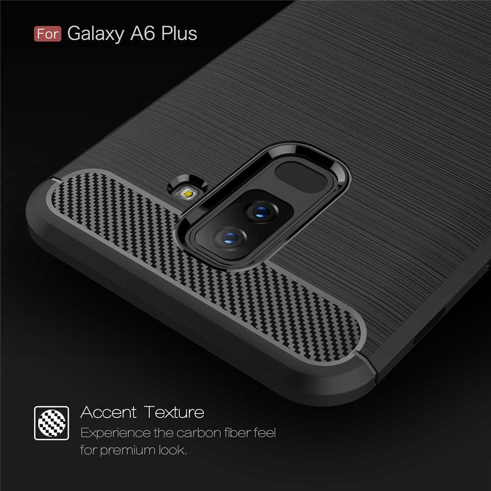 Case for Samsung Galaxy A6 Plus 2018 Shockproof Back Cover Soft Carbon Fiber