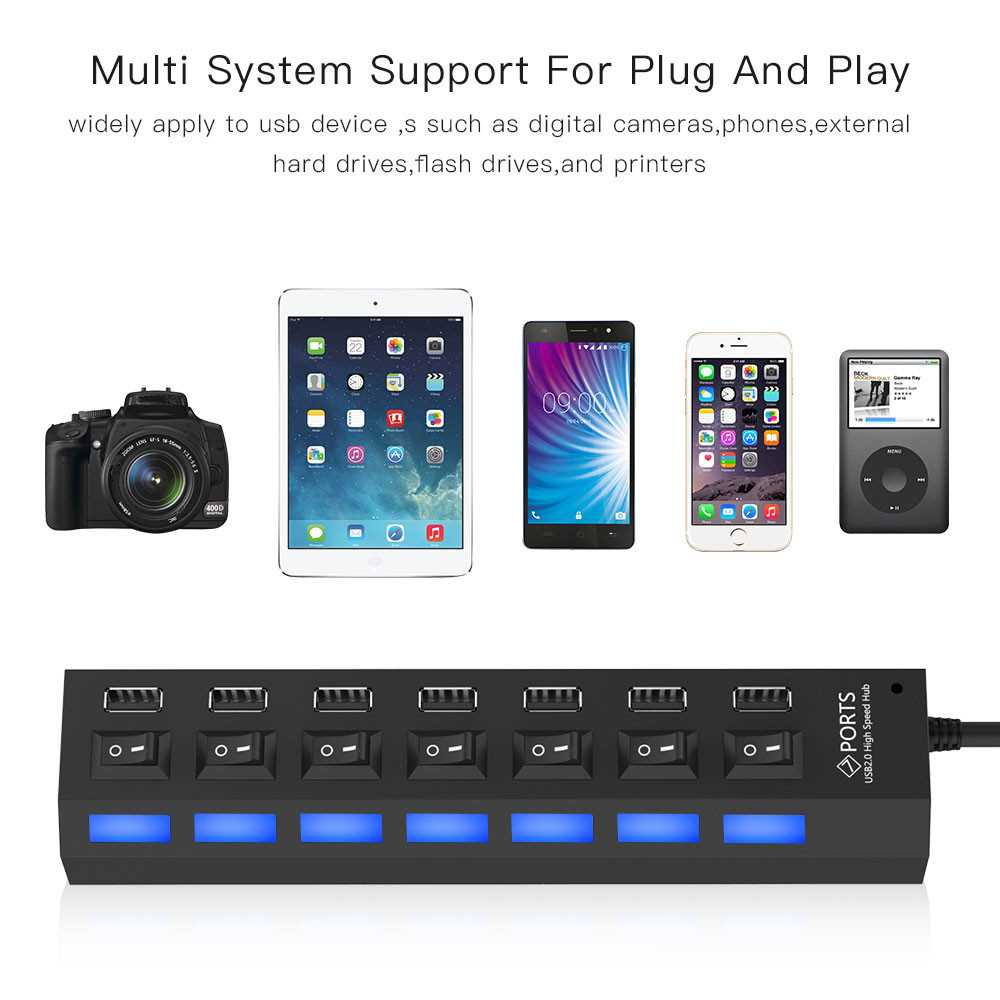 7 Port USB Hub USB2.0 with Switch High Speed USB Transmission Hubs