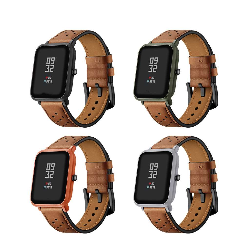 Genuine Leather Watch Strap 20mm for Xiaomi Huami Amazfit Youth Bit