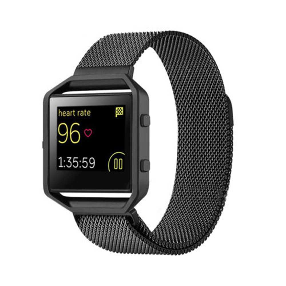 Metal Frame + Milanese Magnetic Loop Stainless Steel Wrist Watch Band for Fitbit Blaze