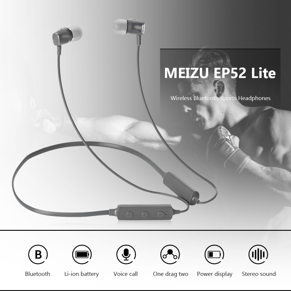 MEIZU EP52 Lite Bluetooth Magnetic Headphone Neckband Sweatproof Sports Earbuds