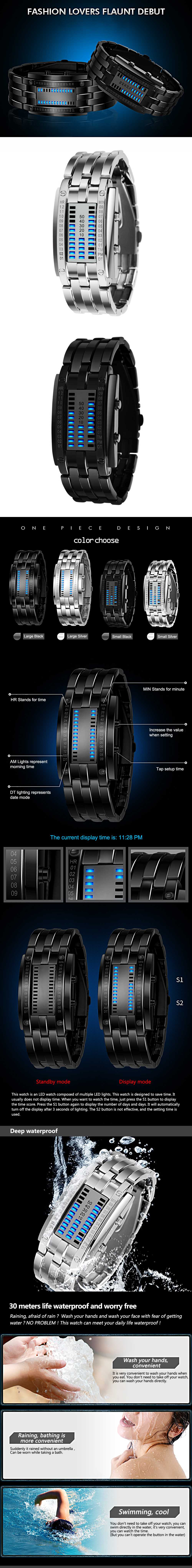 SKMEI Fashion Creative Watch Luxury Brand Digital LED Display Lover's Wristwatches