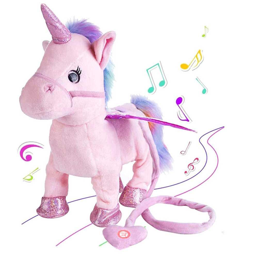 Electric Walking Unicorn Stuffed Animals Plush Musical Pony Toy