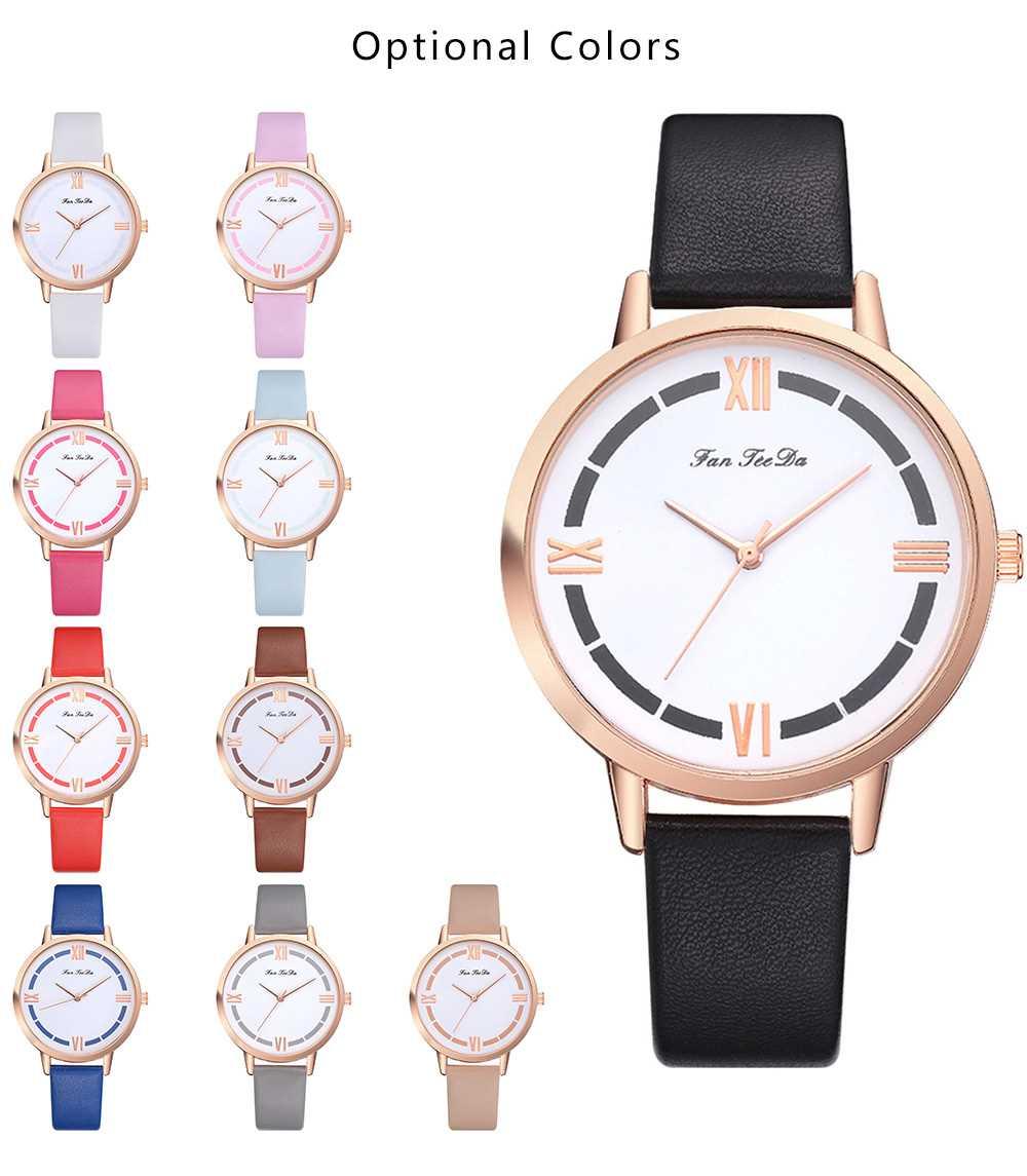 Fanteeda FD146 Roman Digital PU Leather Quartz Watch