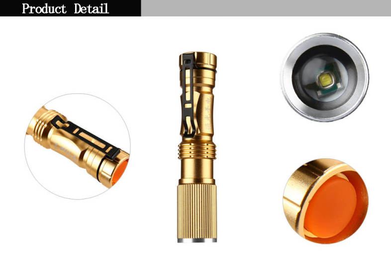 T6 LED 5W 350LM Mini Flashlight 3 Modes Camping Torch Light