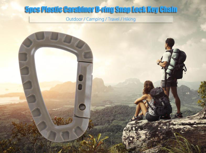 5PCS PLASTIC CARABINER D-RING SNAP LOCK KEY CHAIN CLIP HOOK FOR