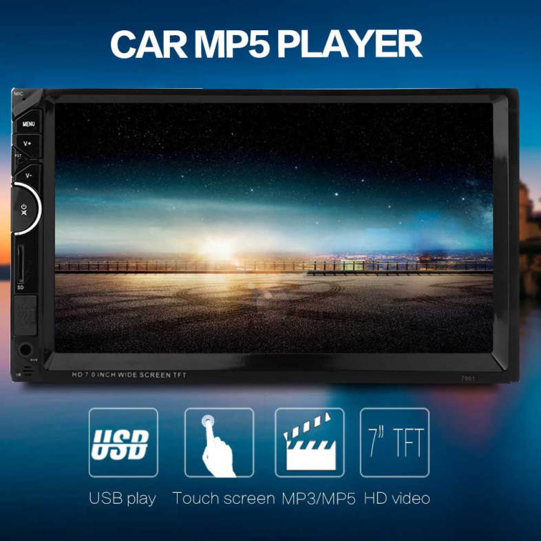 7001 7 INCH DOUBLE DIN 12V CAR MULTIMEDIA MP5 PLAYER SUPPORT