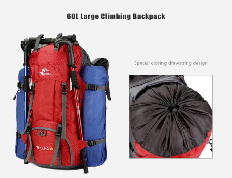 FREEKNIGHT FK0395 60L Water Resistant Climbing Hiking Backpack with Rain Cover