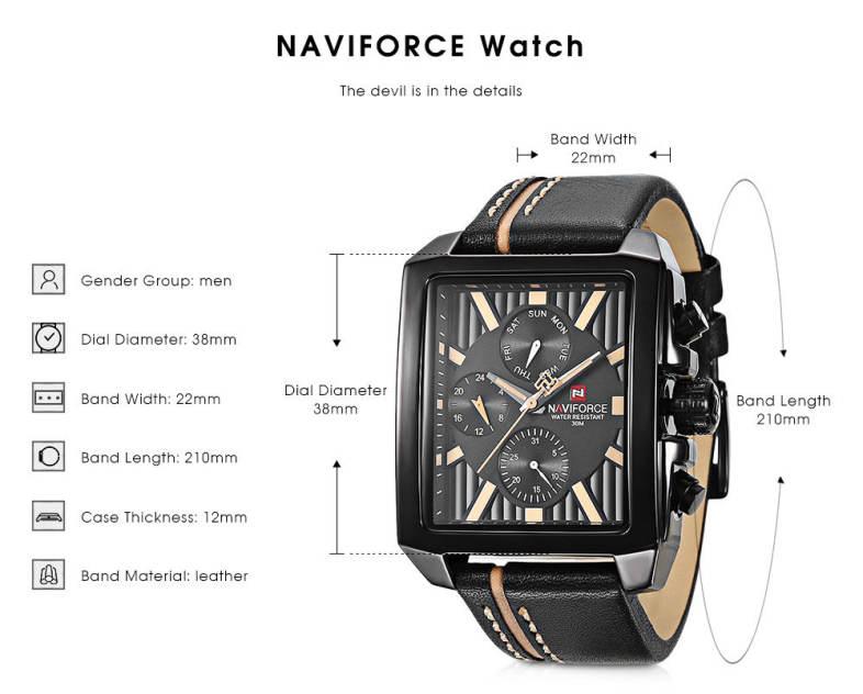NAVIFORCE NF9111M Male Quartz Watch Calendar 24-hour Display Men Wristwatch