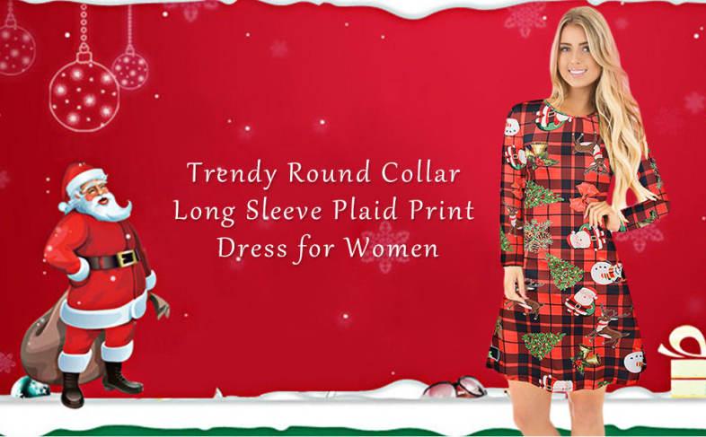 1226a5d81956a Trendy Round Collar Long Sleeve Plaid Santa Claus Print Women Dress