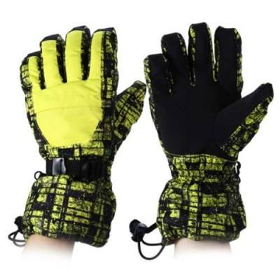 WATER RESISTANT WINDPROOF WARM SKI GLOVES FOR CYCLING RIDING SNOWMOBILE SKATING PROTECTING HANDS (YELLOW)