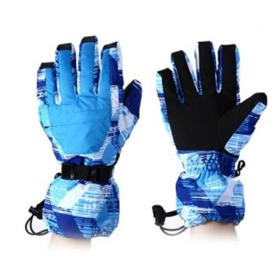 WATER RESISTANT WINDPROOF WARM SKI GLOVES FOR CYCLING RIDING SNOWMOBILE SKATING PROTECTING HANDS (BLUE)