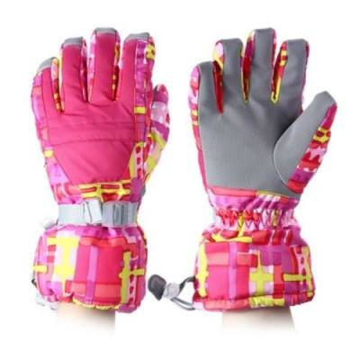 WATER RESISTANT WINDPROOF WARM SKI GLOVES FOR CYCLING RIDING SNOWMOBILE SKATING PROTECTING HANDS (PINK)
