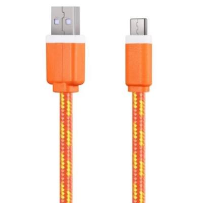 2M TYPE C COLORFUL NYLON BRAIDED TYPE C TRANSFER DATA SYNC CABLE CHARGING CORD LINE (ORANGE)