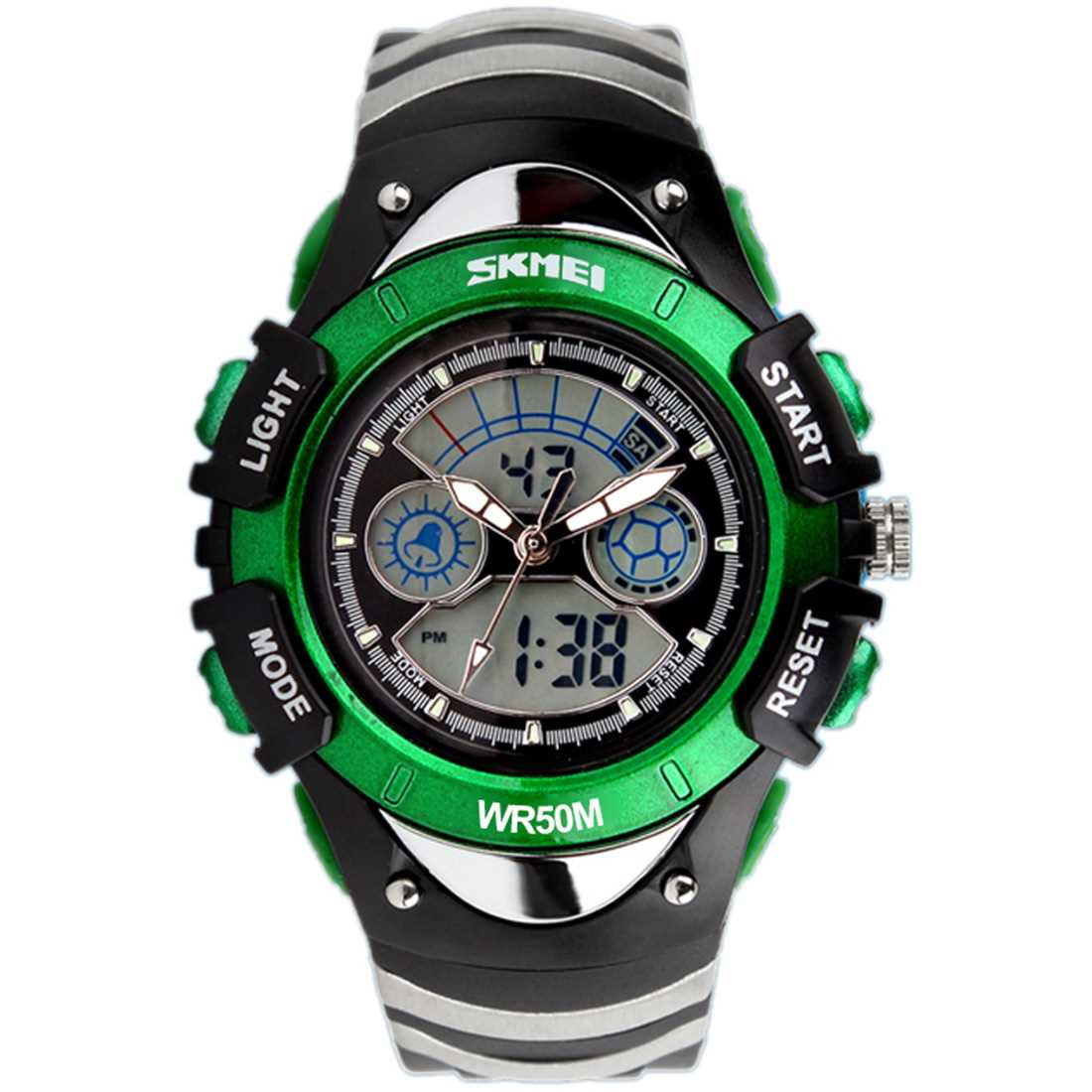 [ London ] SKM 0998 Children Sport Watch Dual Display Waterproof Watch Green (Green) Malaysia