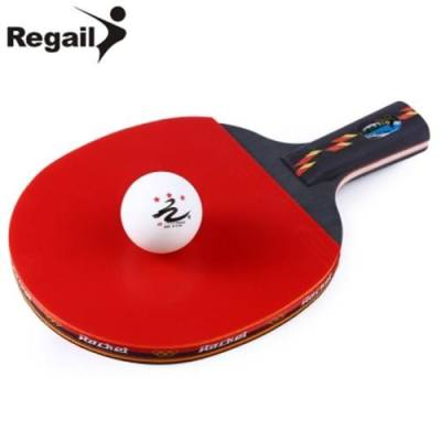 REGAIL D003 TABLE TENNIS PING PONG RACKET ONE PENHOLD BAT PADDLE BALL (RED WITH BLACK)
