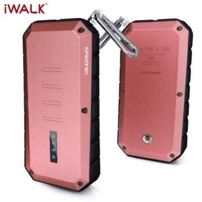 IWALK T13 13000MAH OUTDOOR THREE ANTI UNIVERSAL MOBILE PHONE POWER BANK WITH INDICATOR CLIMBING CARABINER LED FLASHLIGHT FUNCTION (WINE RED)