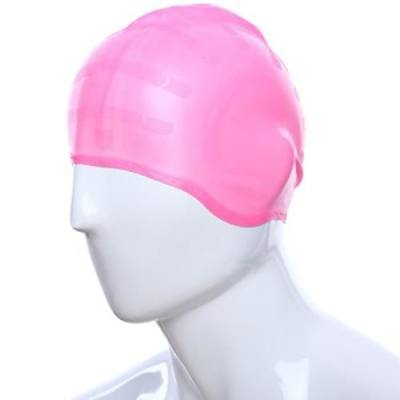 SWIMMING LONG HAIR CAP HAT WITH EAR CUP WATERPROOF UNISEX ADULT SILICONE STRETCH HAT (PINK)
