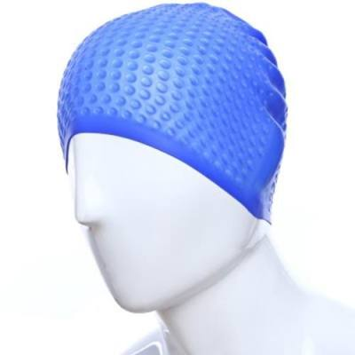 FLEXIBLE SILICONE WATERPROOF BATHING CAP FOR WATER SPORTS SWIMMING (DEEP BLUE)