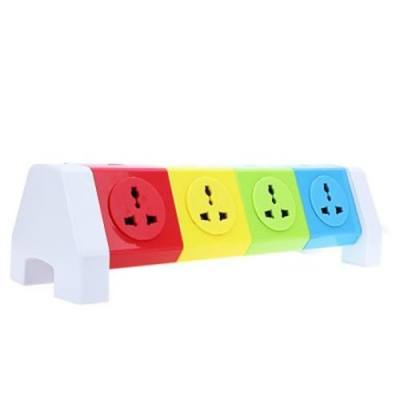 ALARDOR COLORFUL ALD-4W8K-L 180 DEGREE ROTATING SOCKET INTELLIGENT PATCH PANEL USB SURGE PROTECTION POWER STRIP (COLORFUL)